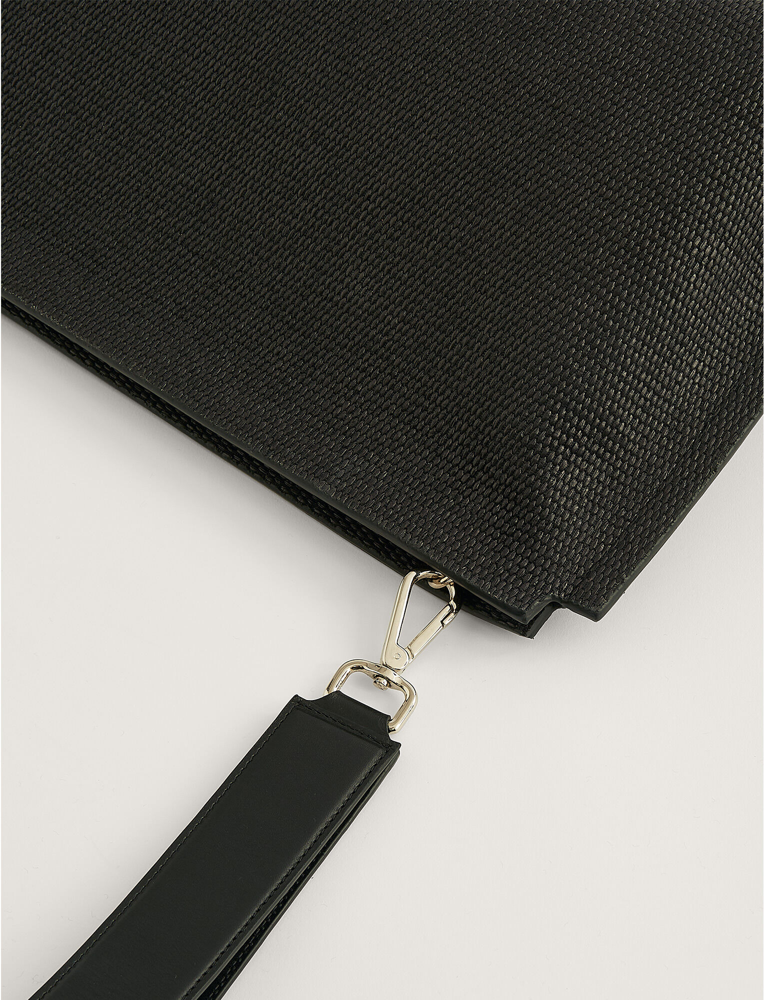 Joseph, Natural Fabric Clutch Bag, in BLACK