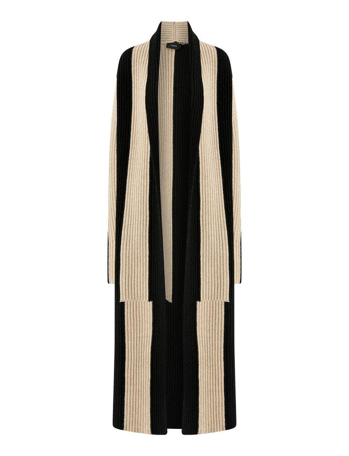 Joseph, Cardigan Stitch Stripe Coat, in BLACK COMBO