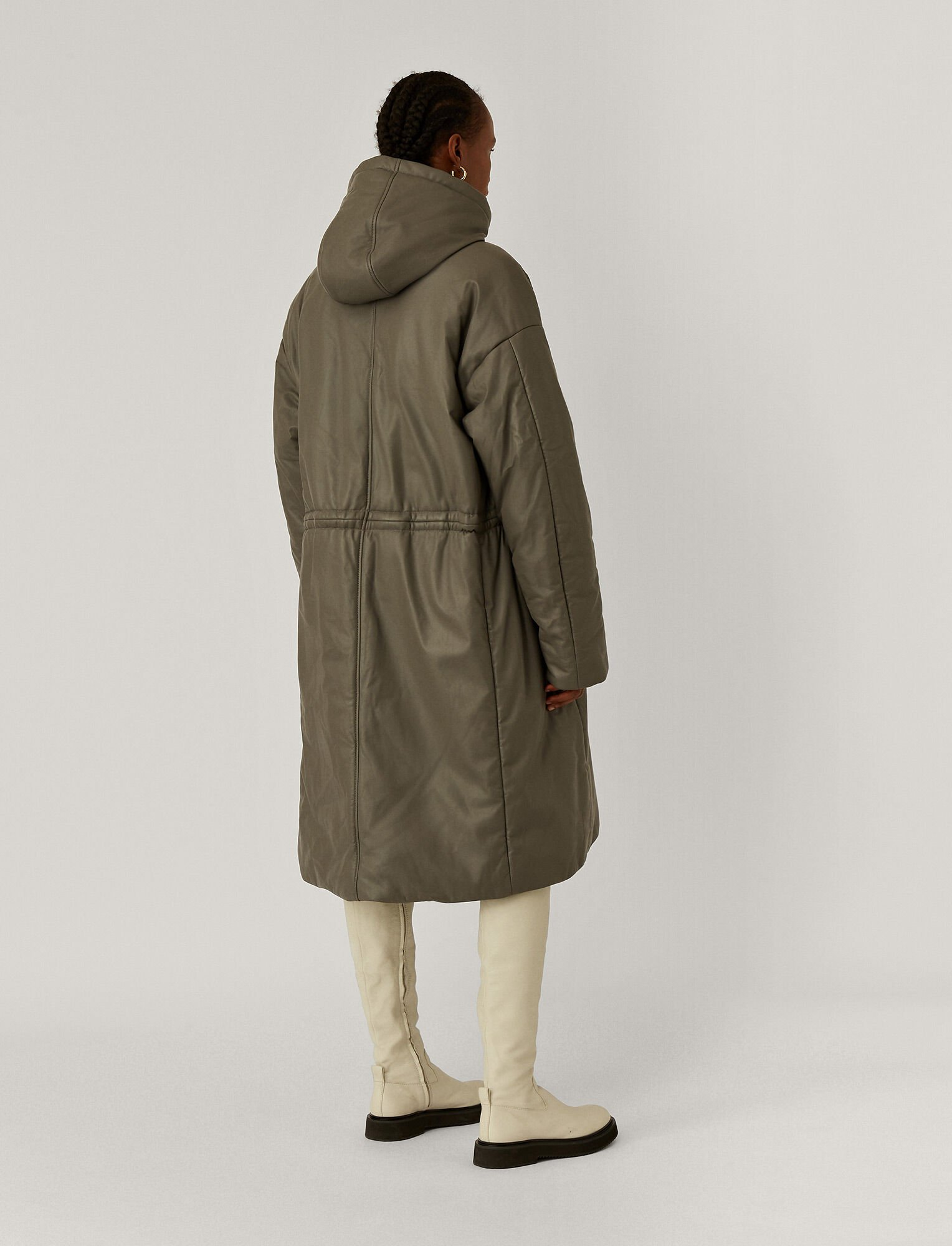 Joseph, Cocon Nappa Leather Coat, in Ash