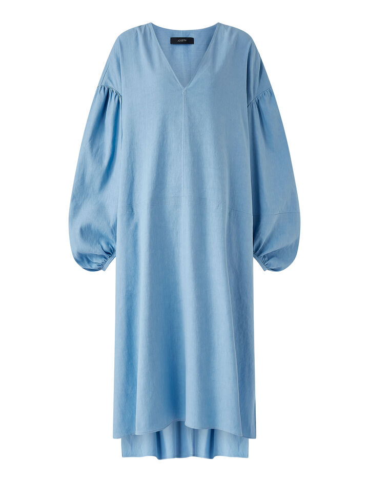 Joseph, Stretch Linen Cotton Duna Dress, in CERULEAN