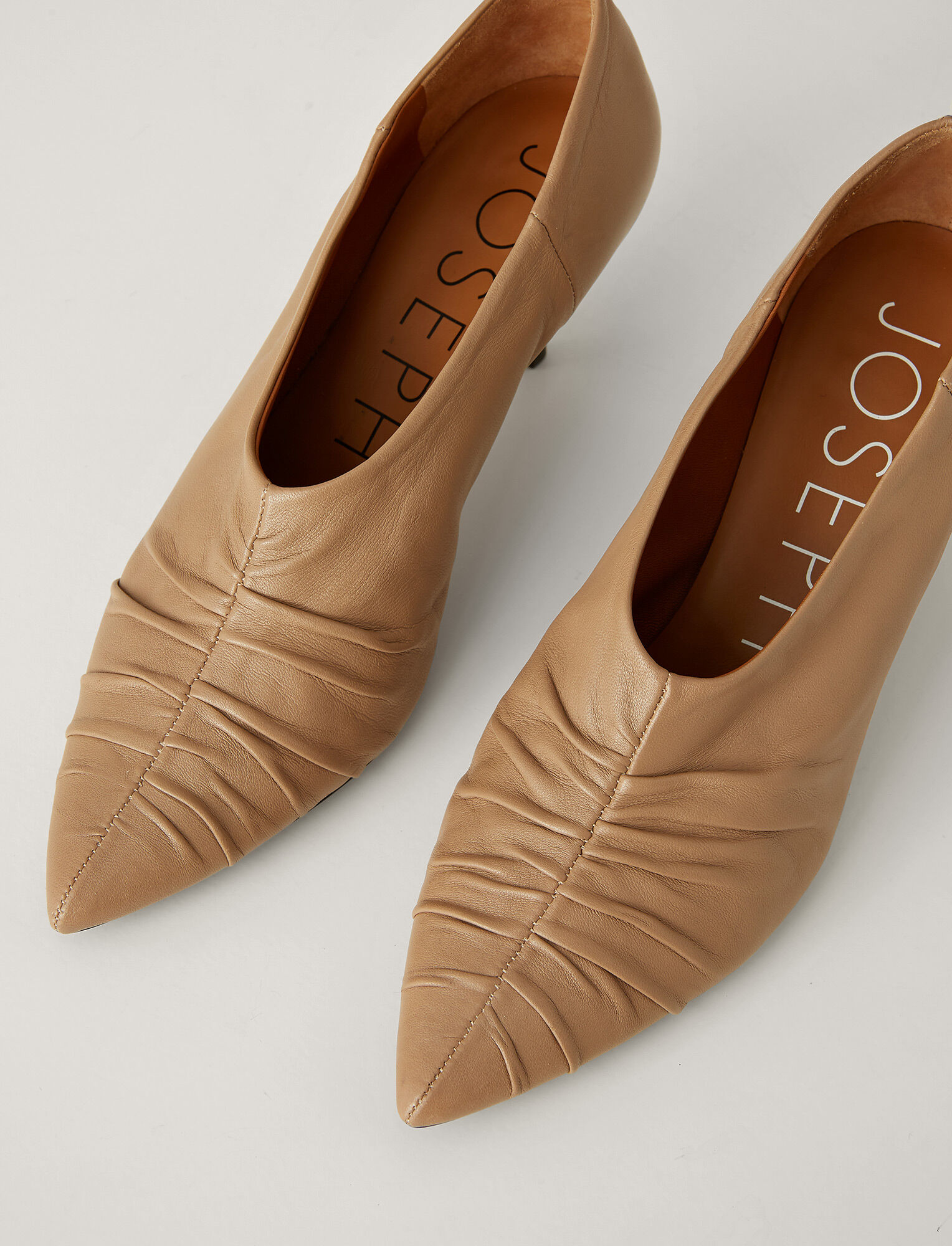 Joseph, Liza Pointed Leather Pump, in TAN