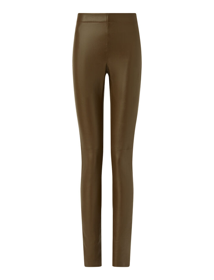 Joseph, Legging Leather Stretch Trousers, in Moss