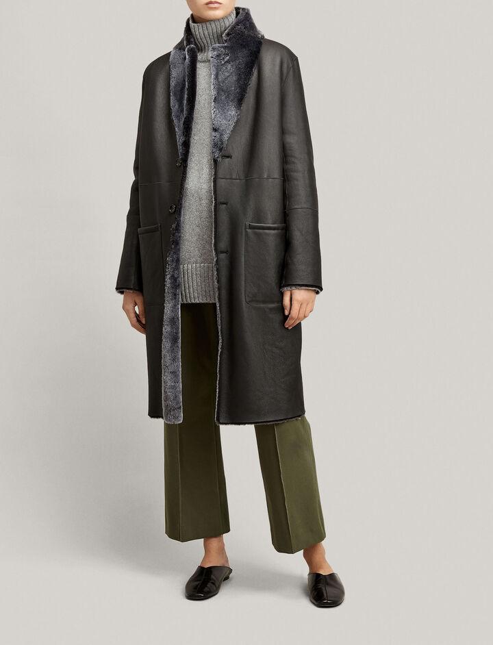 Joseph, Brittanny Polar Skin Coat, in BLACK