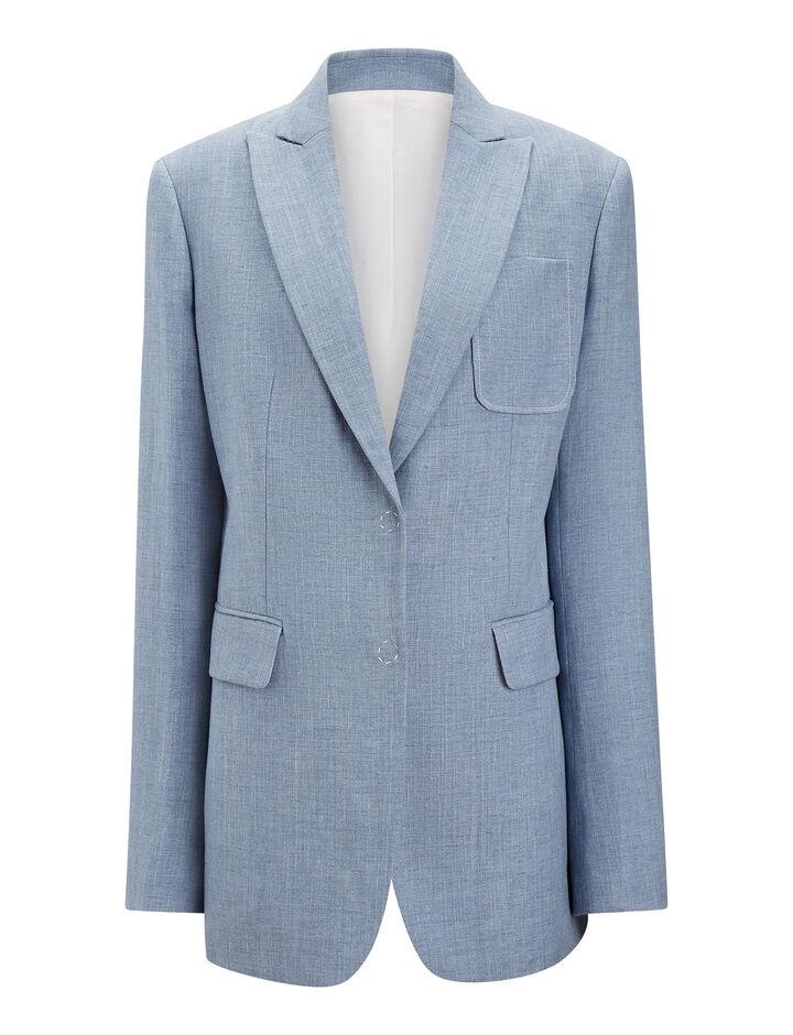 Joseph, Hesston Linen Silk Tailoring Blazer, in AZURE