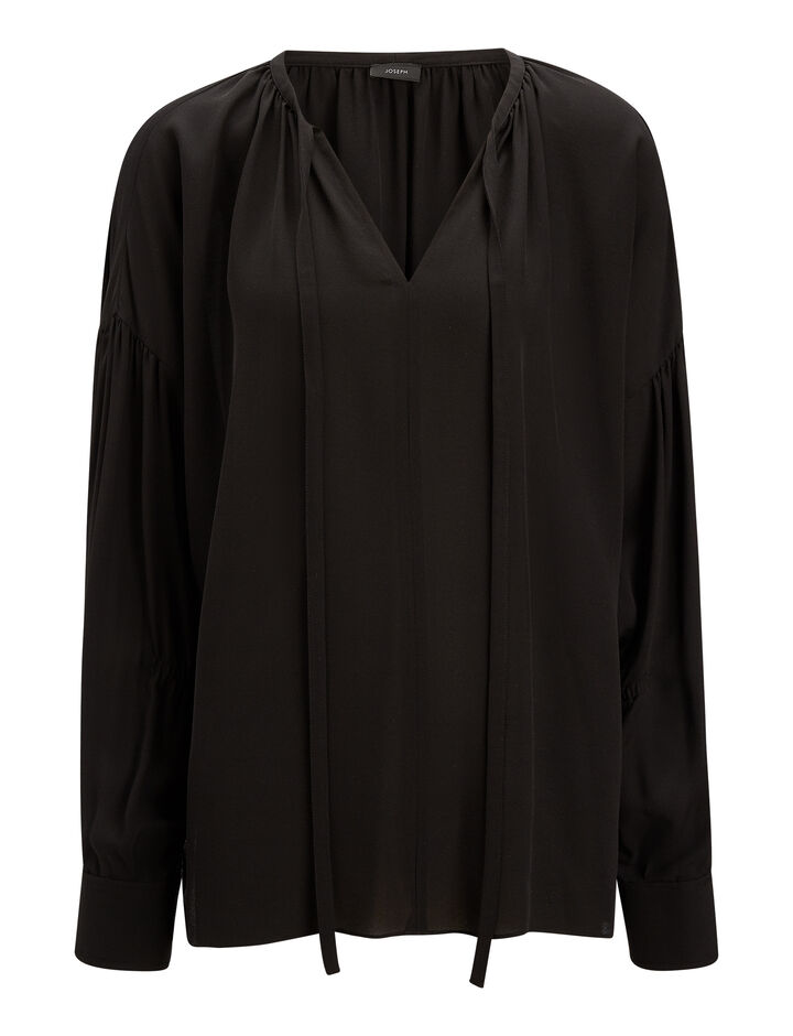 Joseph, Elijah Silk Georgette Blouse, in BLACK