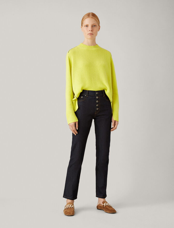 Joseph, Open Cashmere Knit, in CHARTREUSE