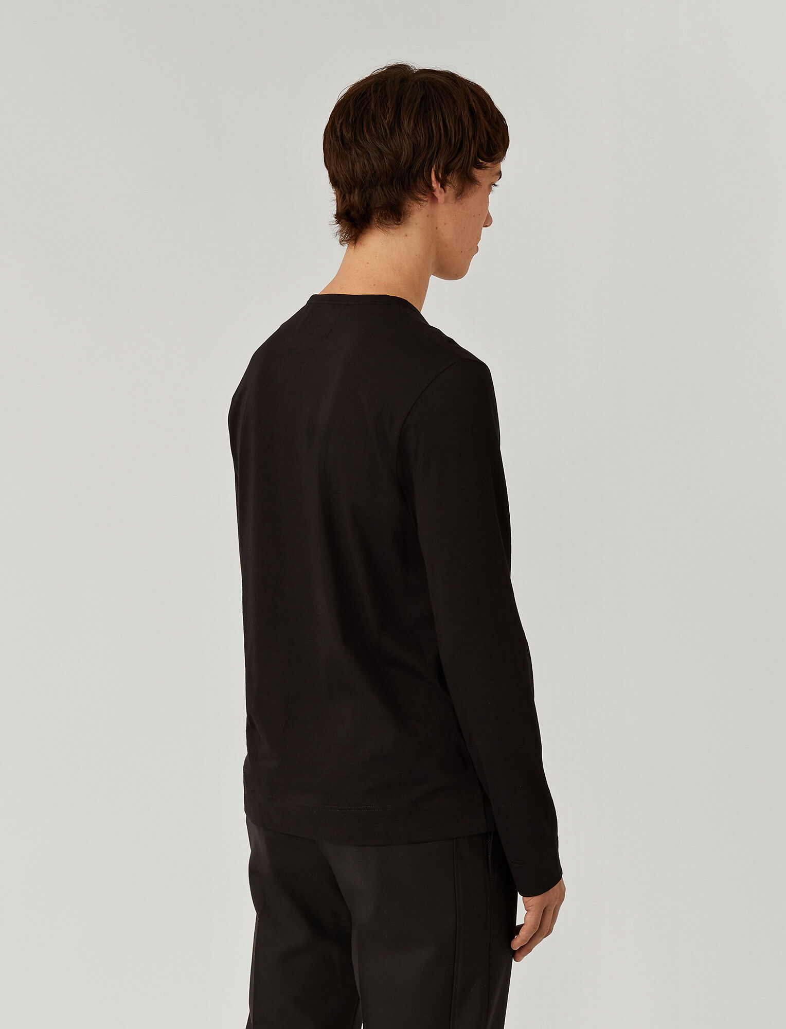 Joseph, Mercerized Jersey Top, in BLACK