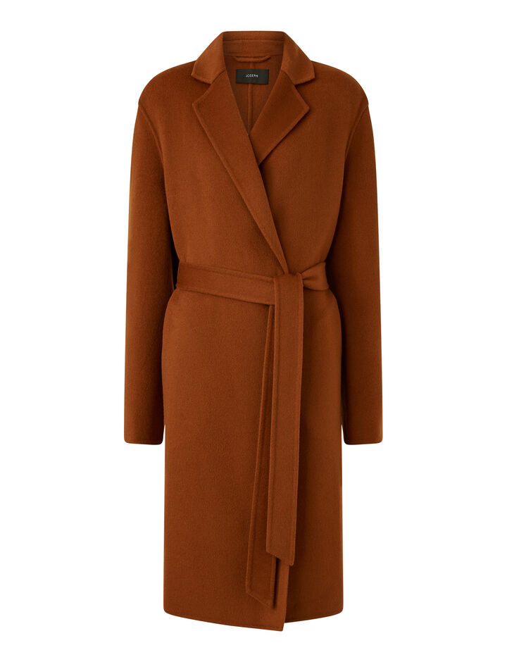 Joseph, Cenda Long Dbl Face Cashmere Coats, in Fox