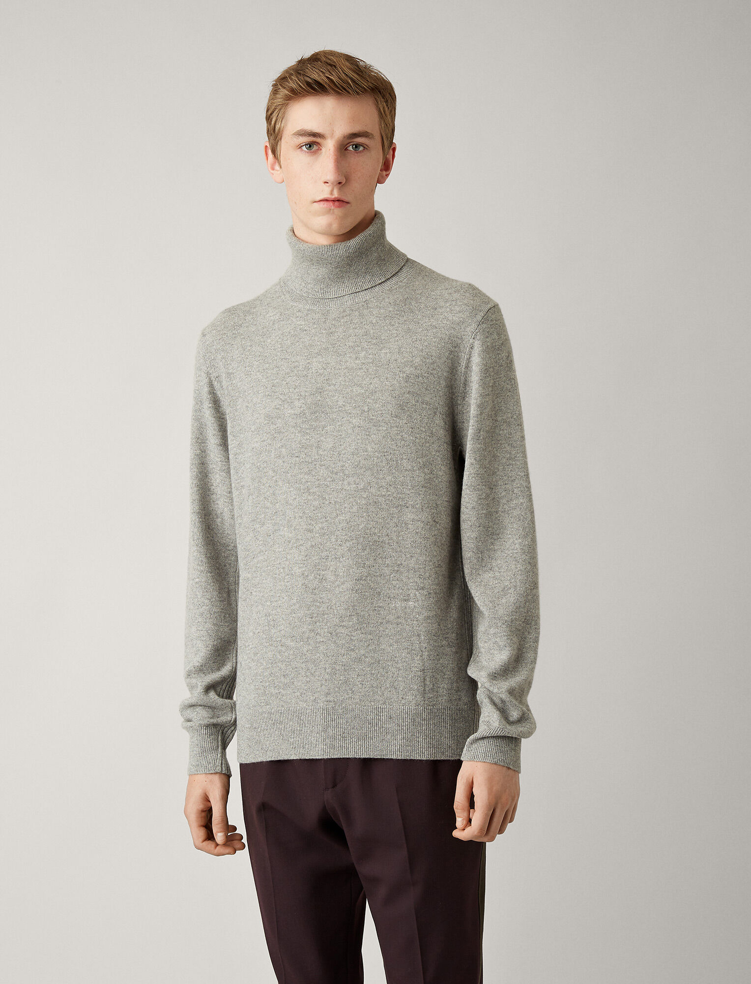 Joseph, High Neck Mongolian Cashmere Knit, in GREY CHINE