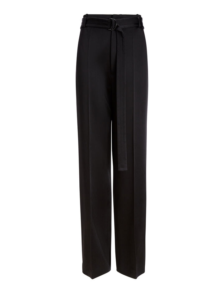 Joseph, Bird Double Satin Trousers, in BLACK