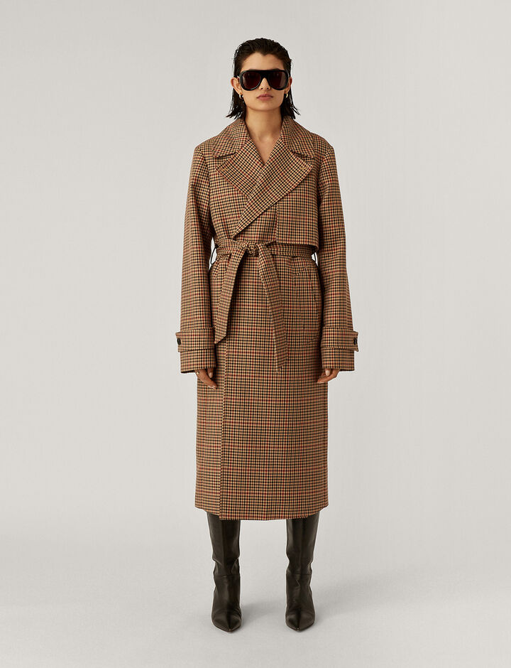 Joseph, Chasa Tweed Check Coats, in Chocolate