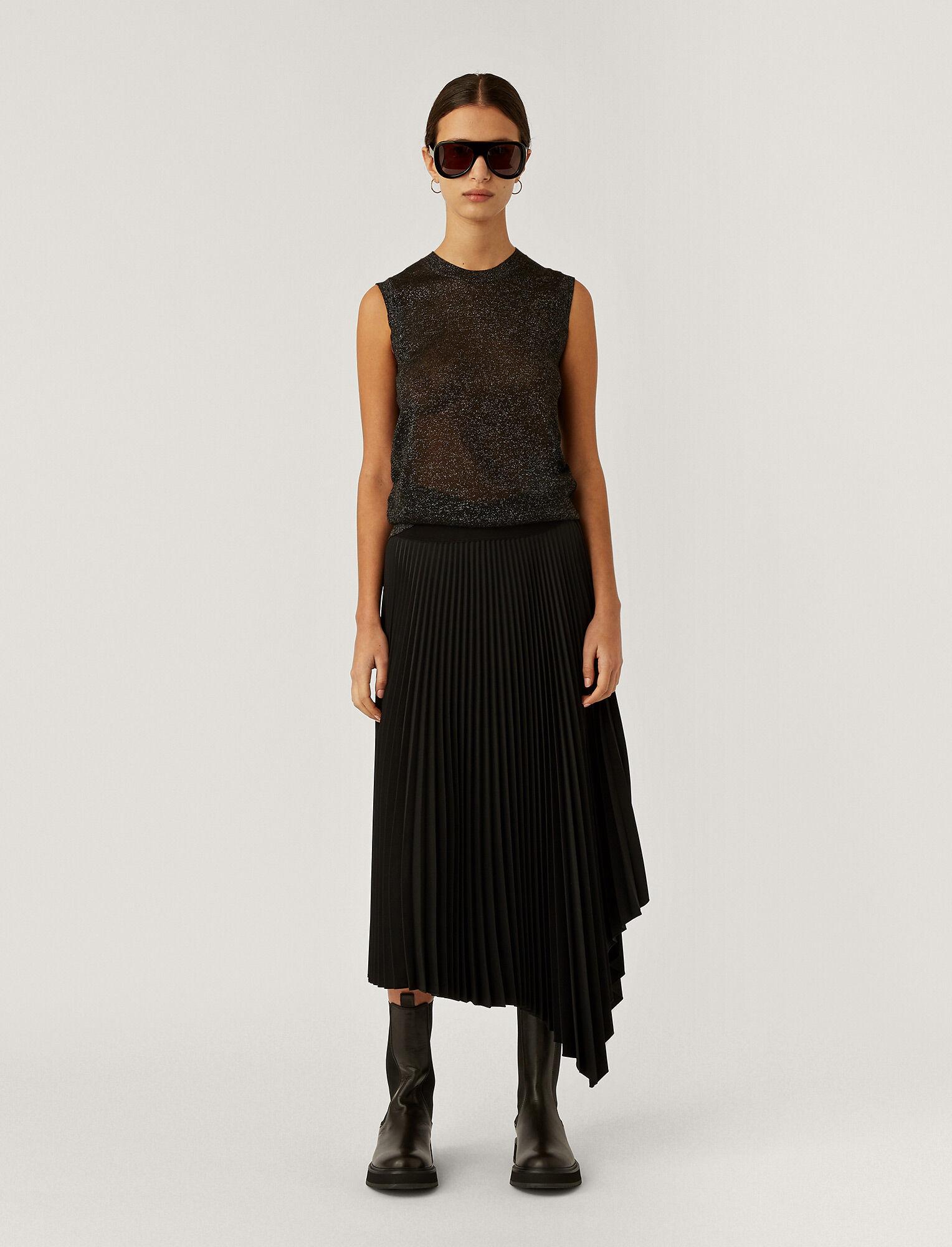 Joseph, Pleated Rib Swinton Skirt, in BLACK