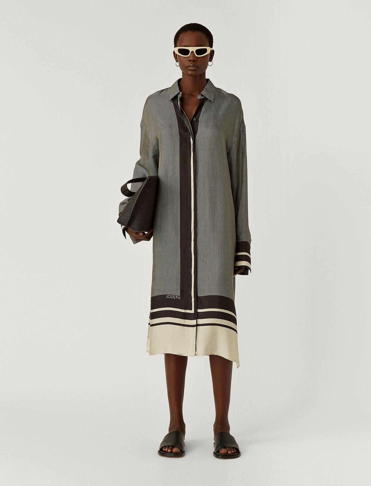 Joseph, Scarf Print Duras Dress, in BLACK/PORCELAIN