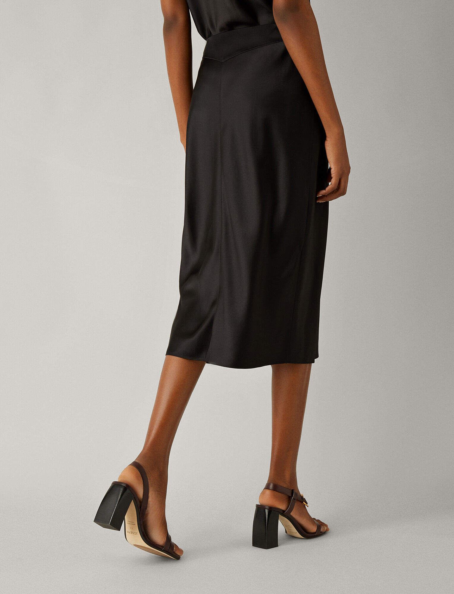 Joseph, Frances Silk Satin Skirt, in BLACK