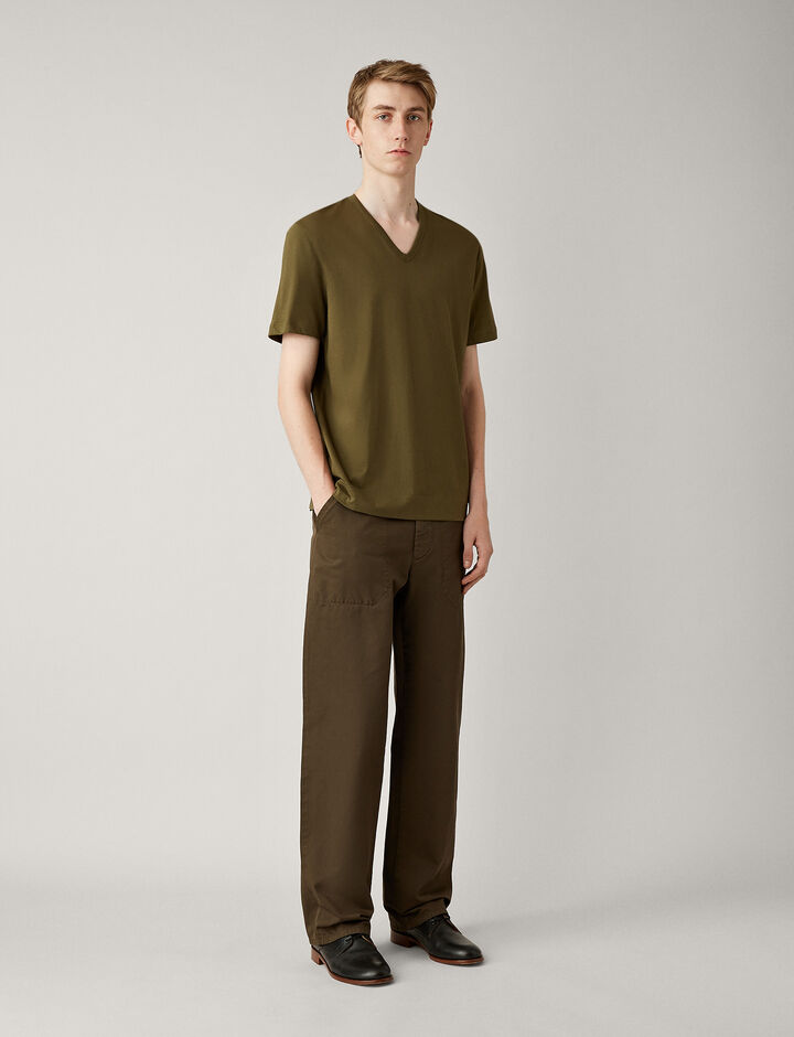 Joseph, V Neck Mercerised Jersey Tee, in MILITARY