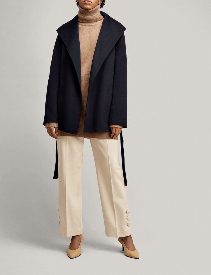 Joseph, Manteau Lima court en double cachemire, in NAVY