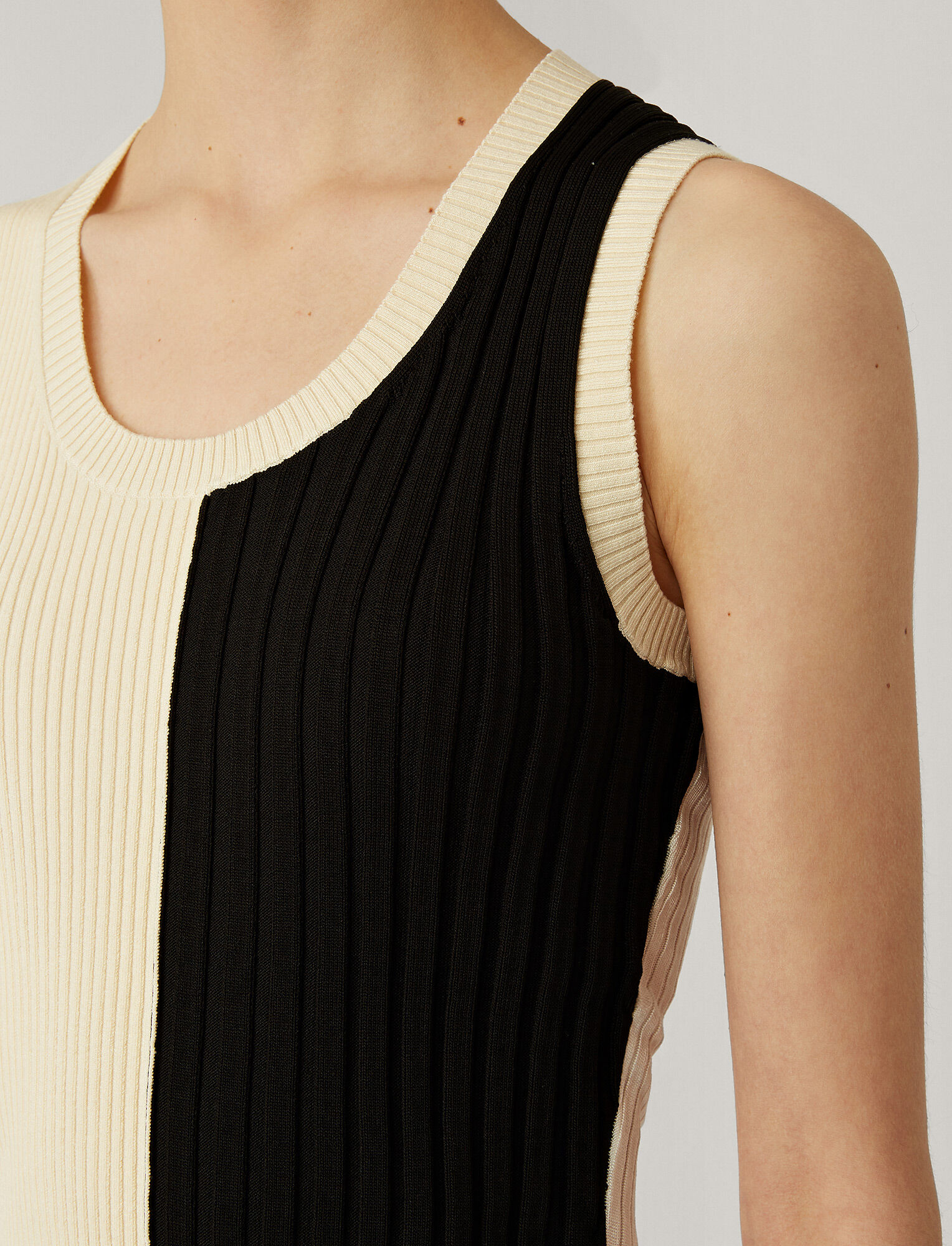 Joseph, Mix Rib Knit Tank, in BLACK COMBO
