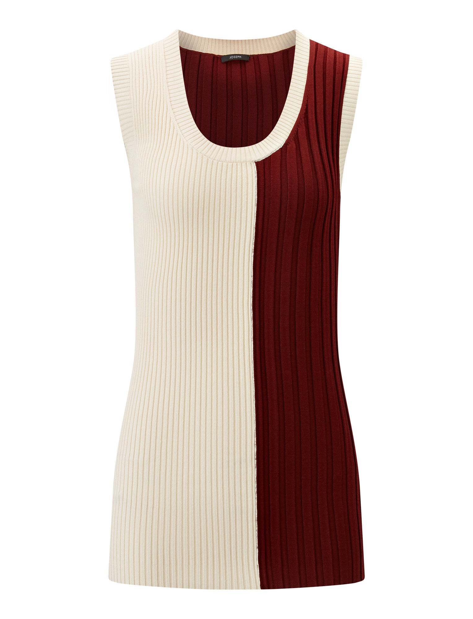 Joseph, Mix Rib Knit Tank, in MERLOT COMBO
