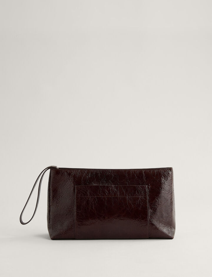 Joseph, Westbourne Clutch-Leather, in MAHOGANY
