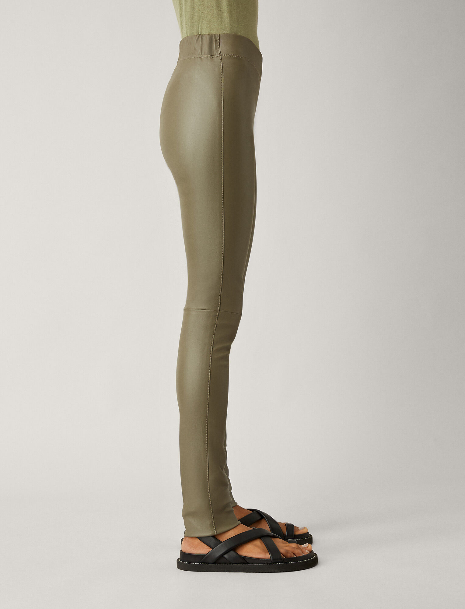 Joseph, Stretch Leather Leggings, in OLIVE