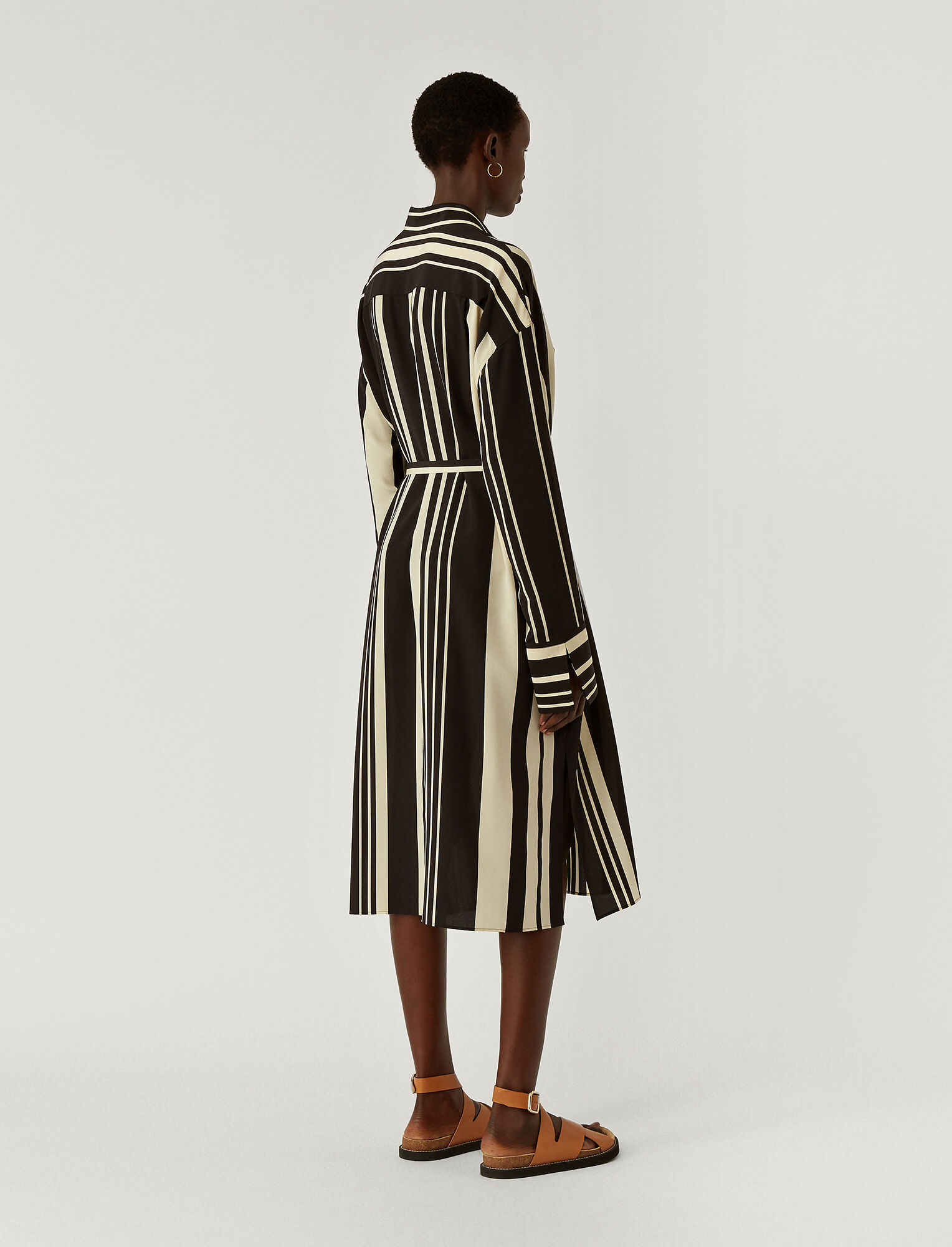 Joseph, Silk Stripes Duras Dress, in GREY/BLACK