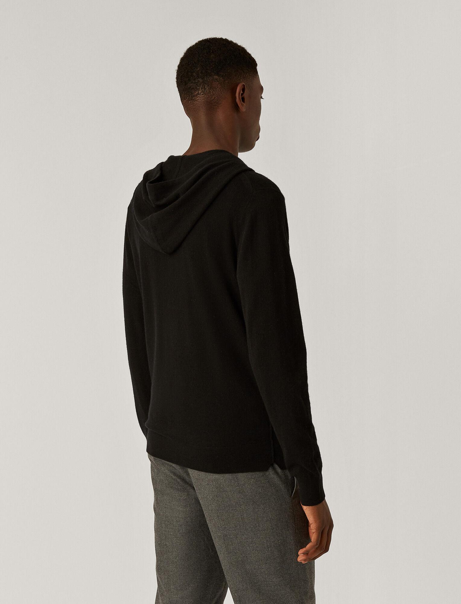 Joseph, Sweat à capuche tricoté en cachemire, in Black