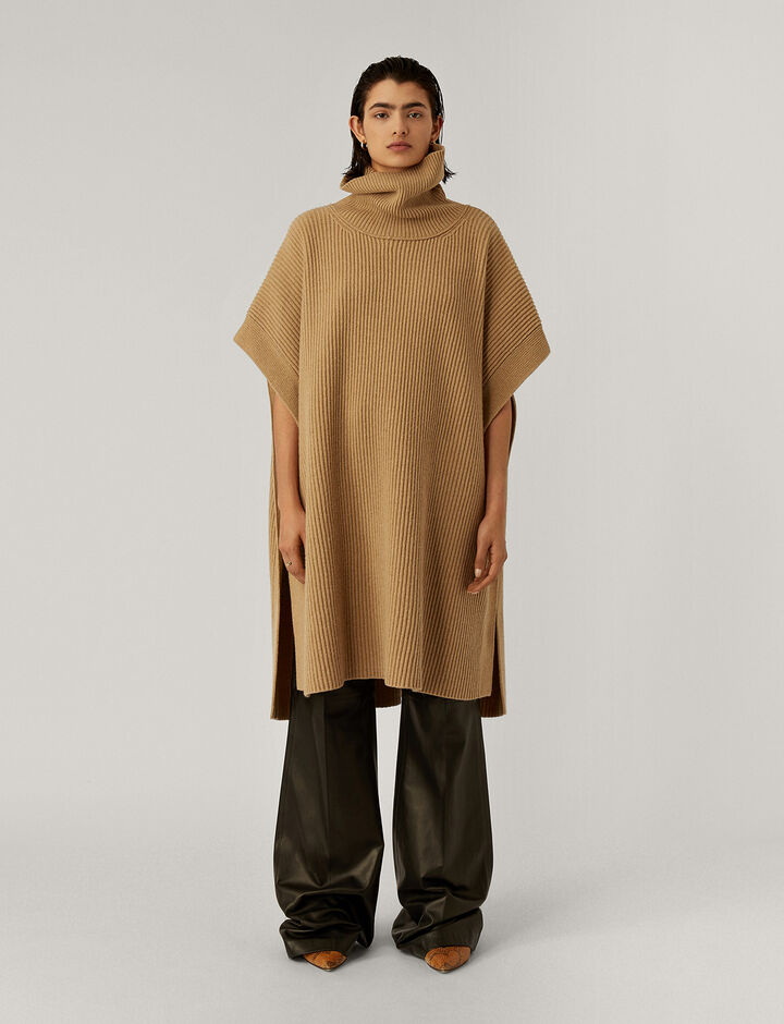 Joseph, Poncho Cardigan Stitch Knitwear, in Light Cognac