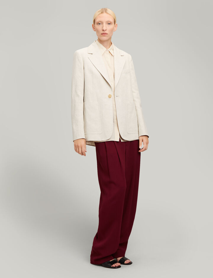 Joseph, Annab Cotton Linen Slub Jacket, in NATURAL