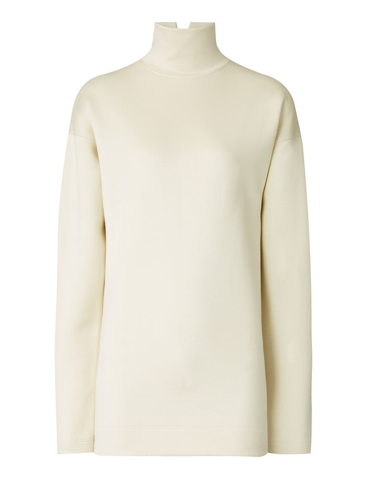 Joseph, High Neck Double Viscose Jersey, in CREAM
