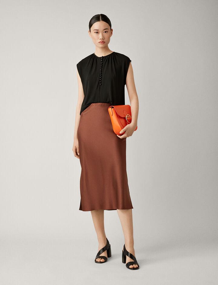Joseph, Frances Silk Satin Skirt, in RAISIN