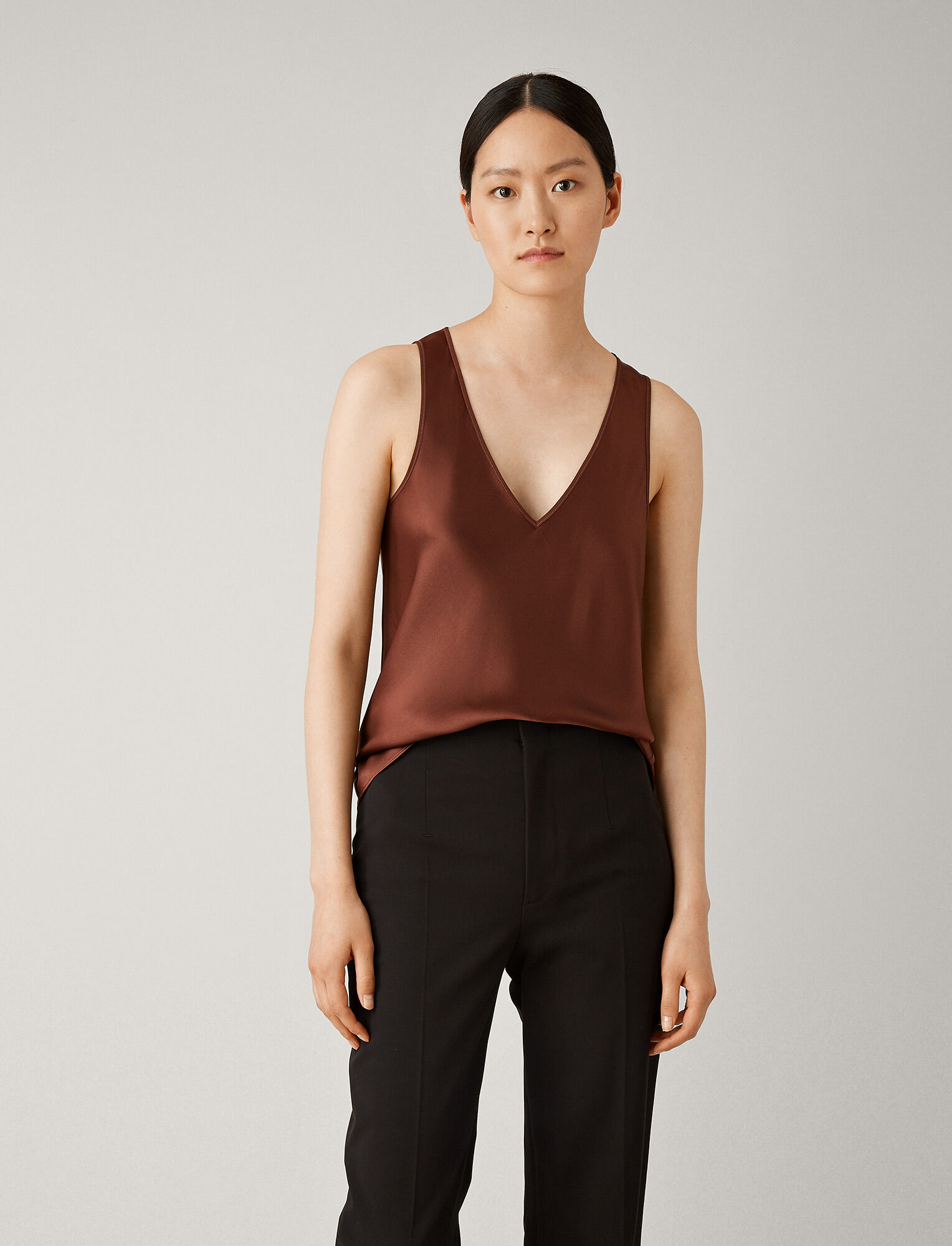 Joseph, Meg Silk Satin Blouse, in RAISIN