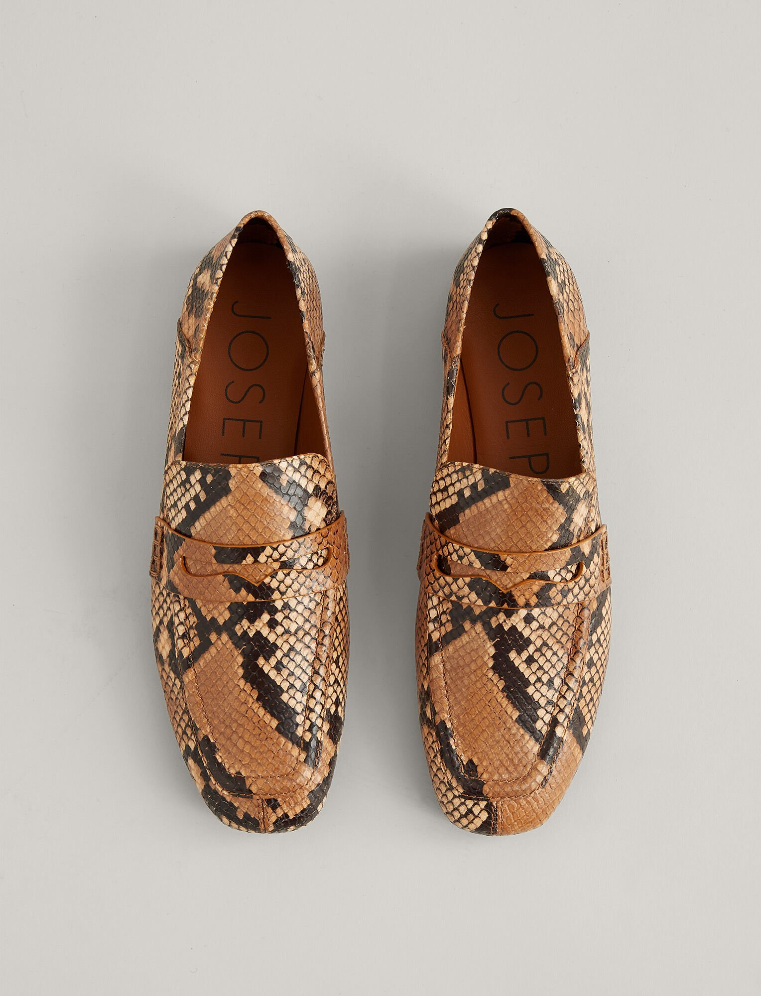 Joseph, Bakhta Leather Loafer, in CARAMEL/GREY
