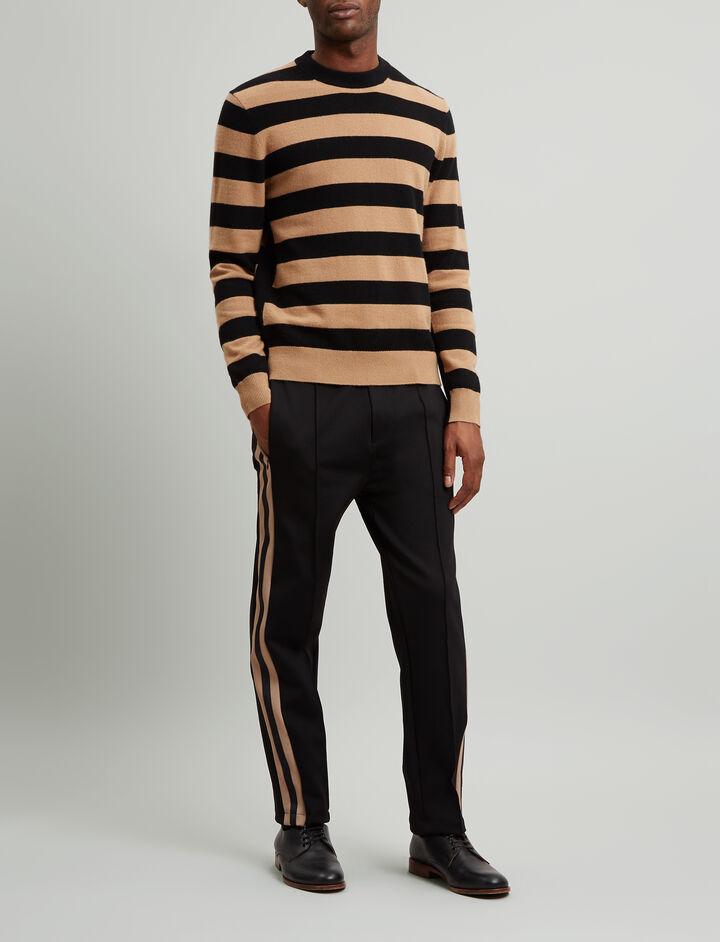 Joseph, Stripe Mongolian Cashmere Knit, in BLACK/CAMEL