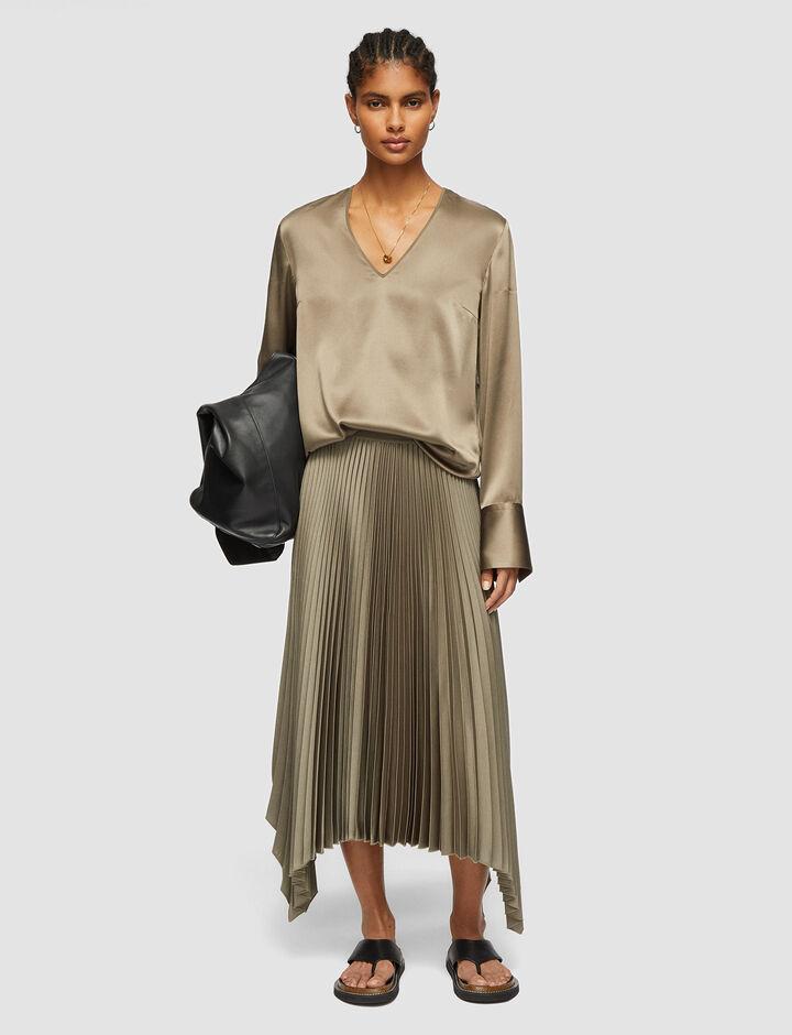 Joseph, Knit Weave Plissé Ade Skirt, in ELM