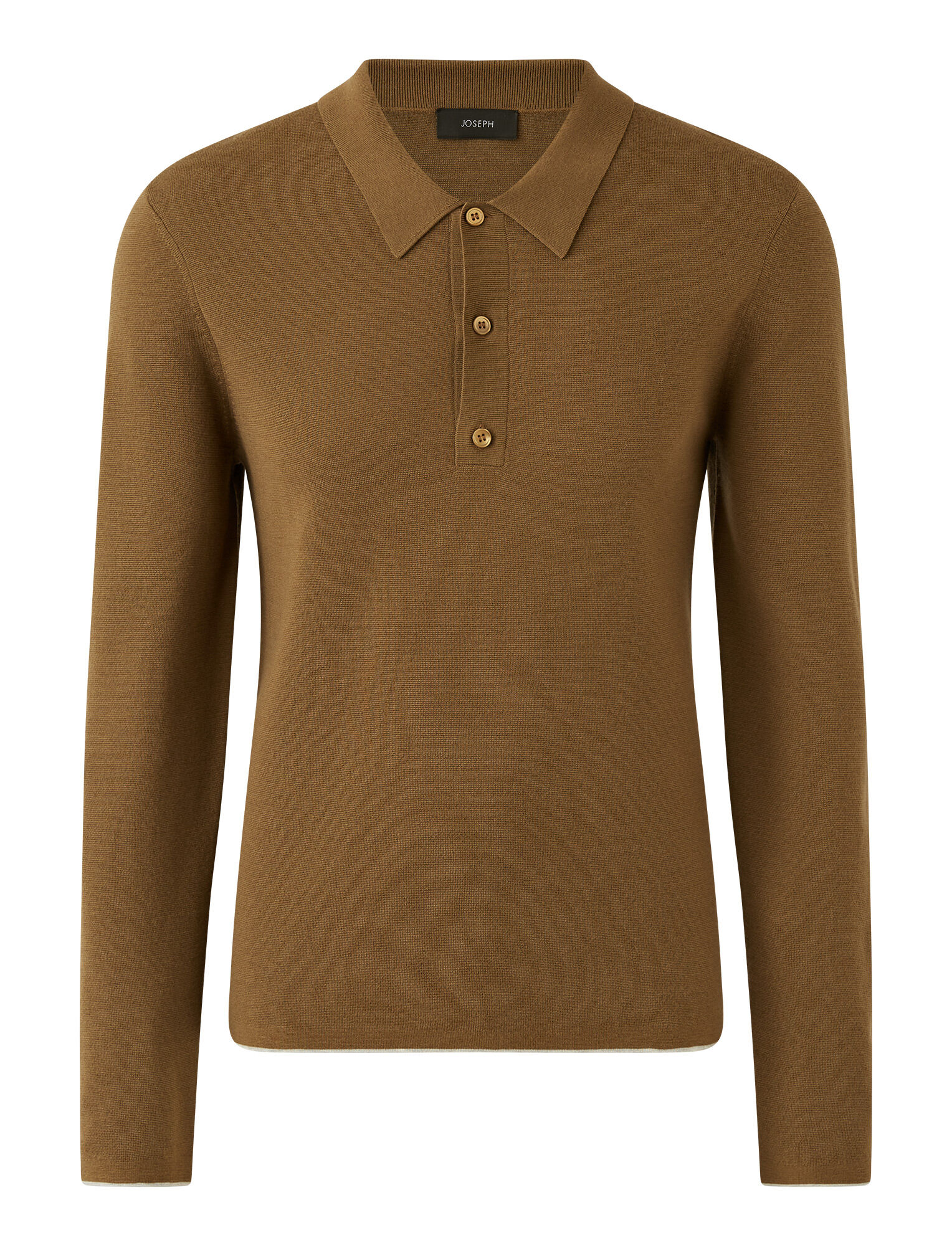 Joseph, Polo Fine Milano Knit, in TOBACCO