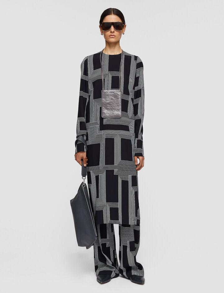 Joseph, Sanctuary Print Darlan Dress, in Black/ecru