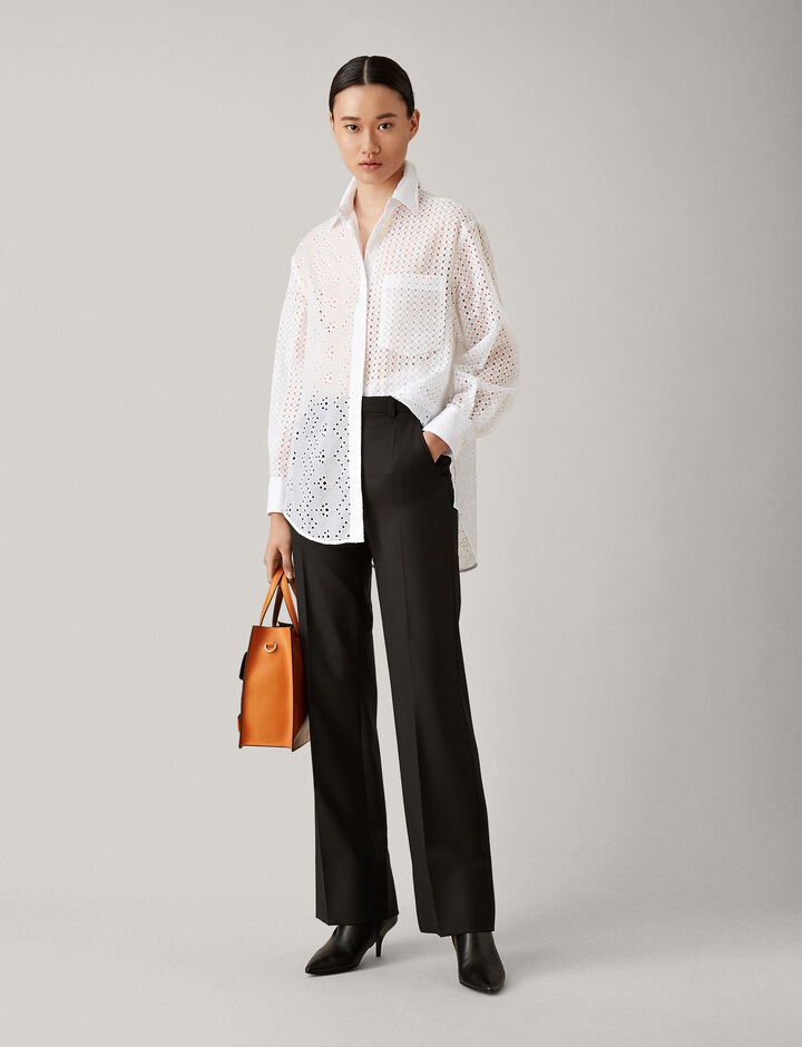 Joseph, Tropez Comfort Wool Trousers, in BLACK