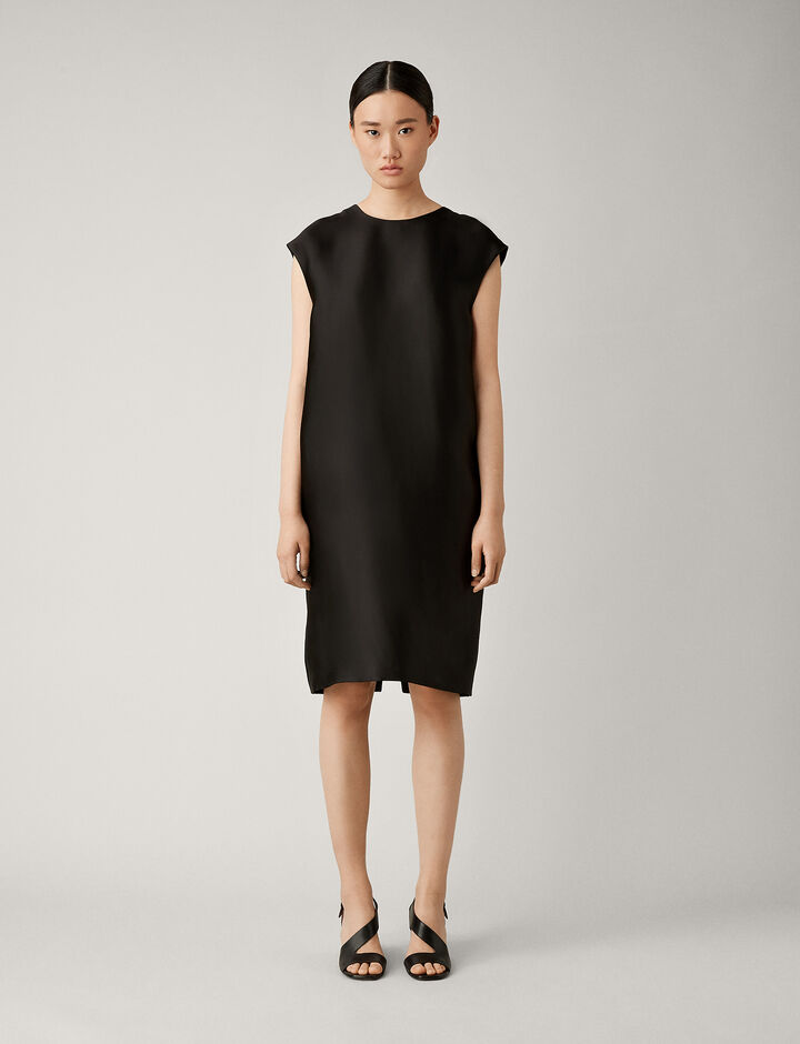 Joseph, Bay Dupion Viscose Dress, in BLACK