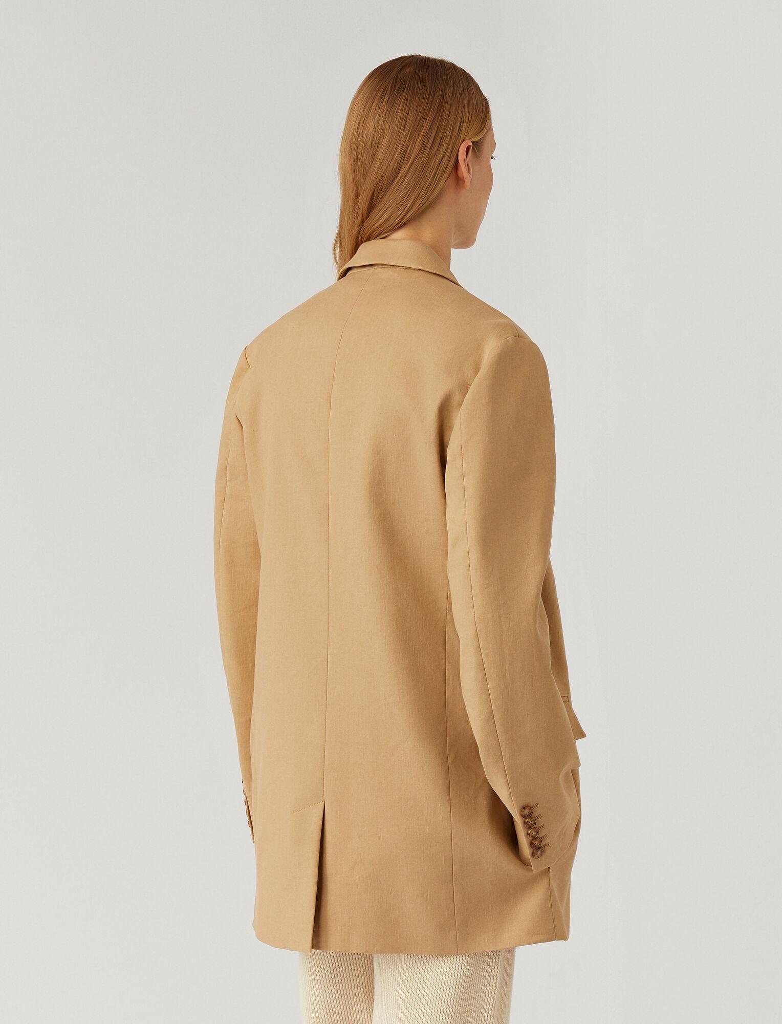 Joseph, Stretch Linen Cotton Julia Jacket, in TOFFEE