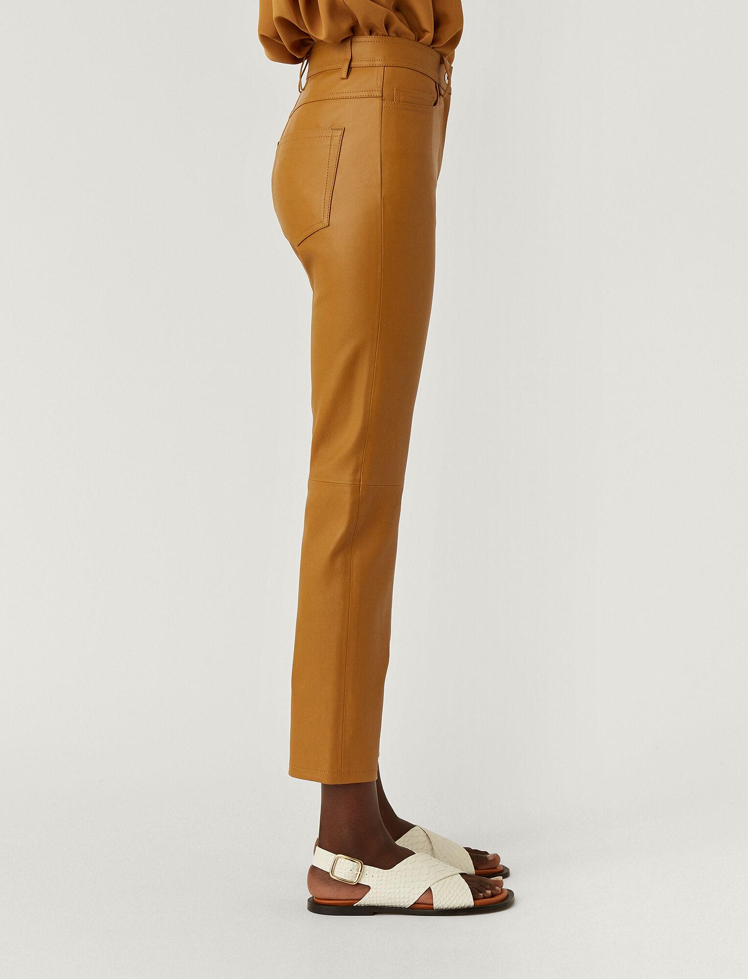 Joseph, Leather Stretch Teddy Trousers, in OAK