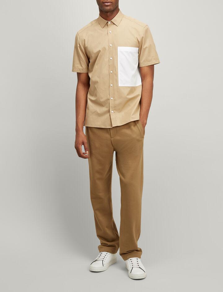 Joseph, Bi Colour Poplin Deal Shirt, in BEIGE
