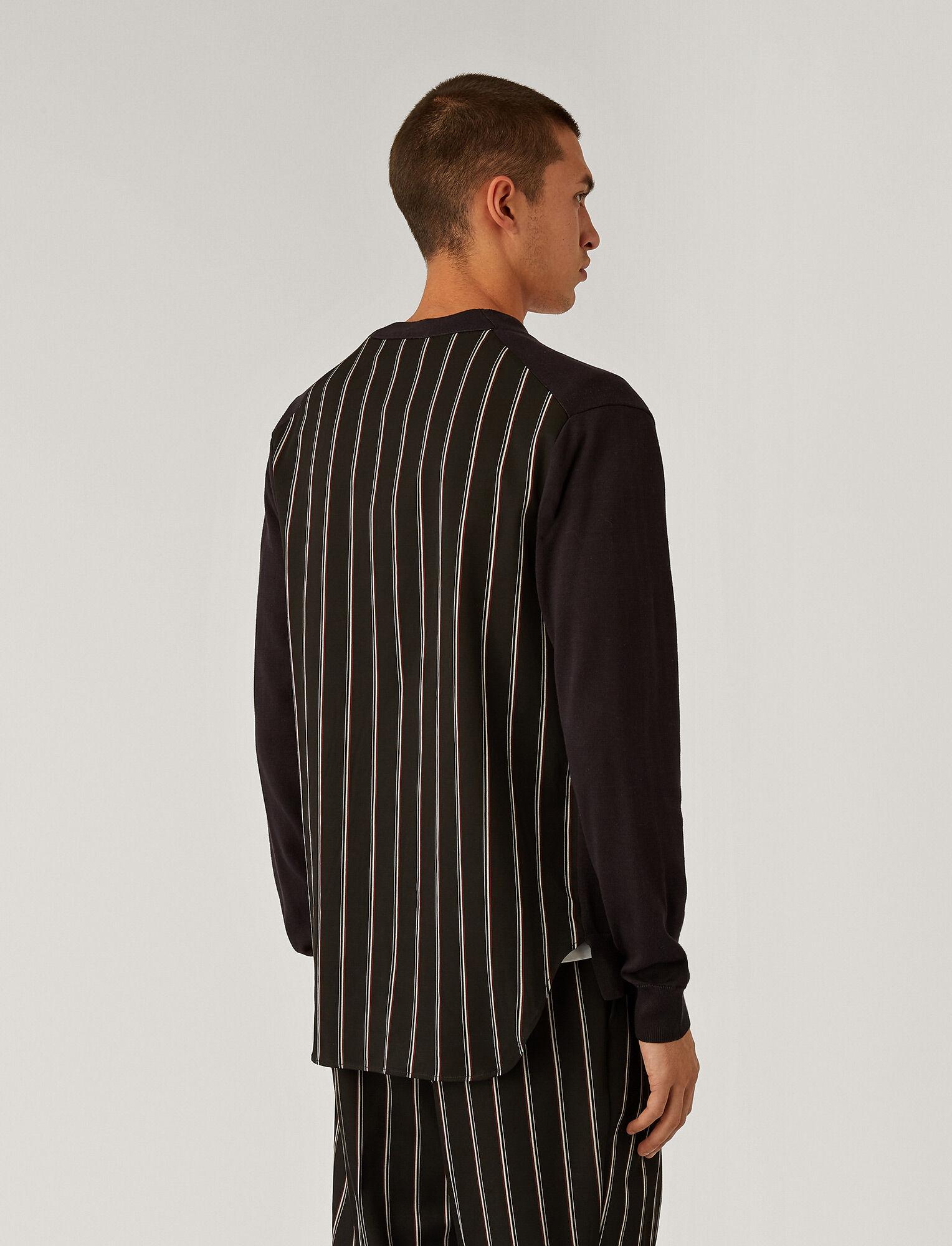 Joseph, V Neck Stripe Block Cardigan, in Black
