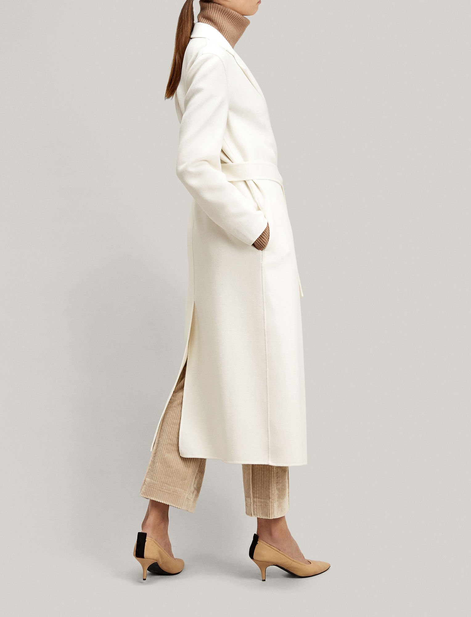 Joseph, Light Double Cashmere Kido Coat, in CHALK