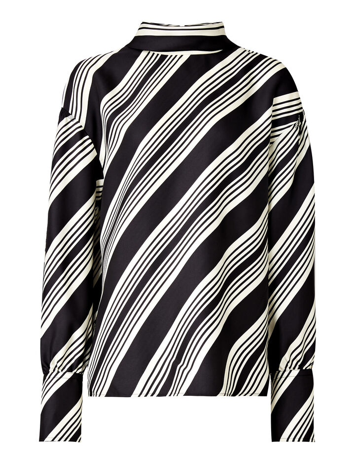 Joseph, Olwen Diagonal Stripe Blouse, in BLACK