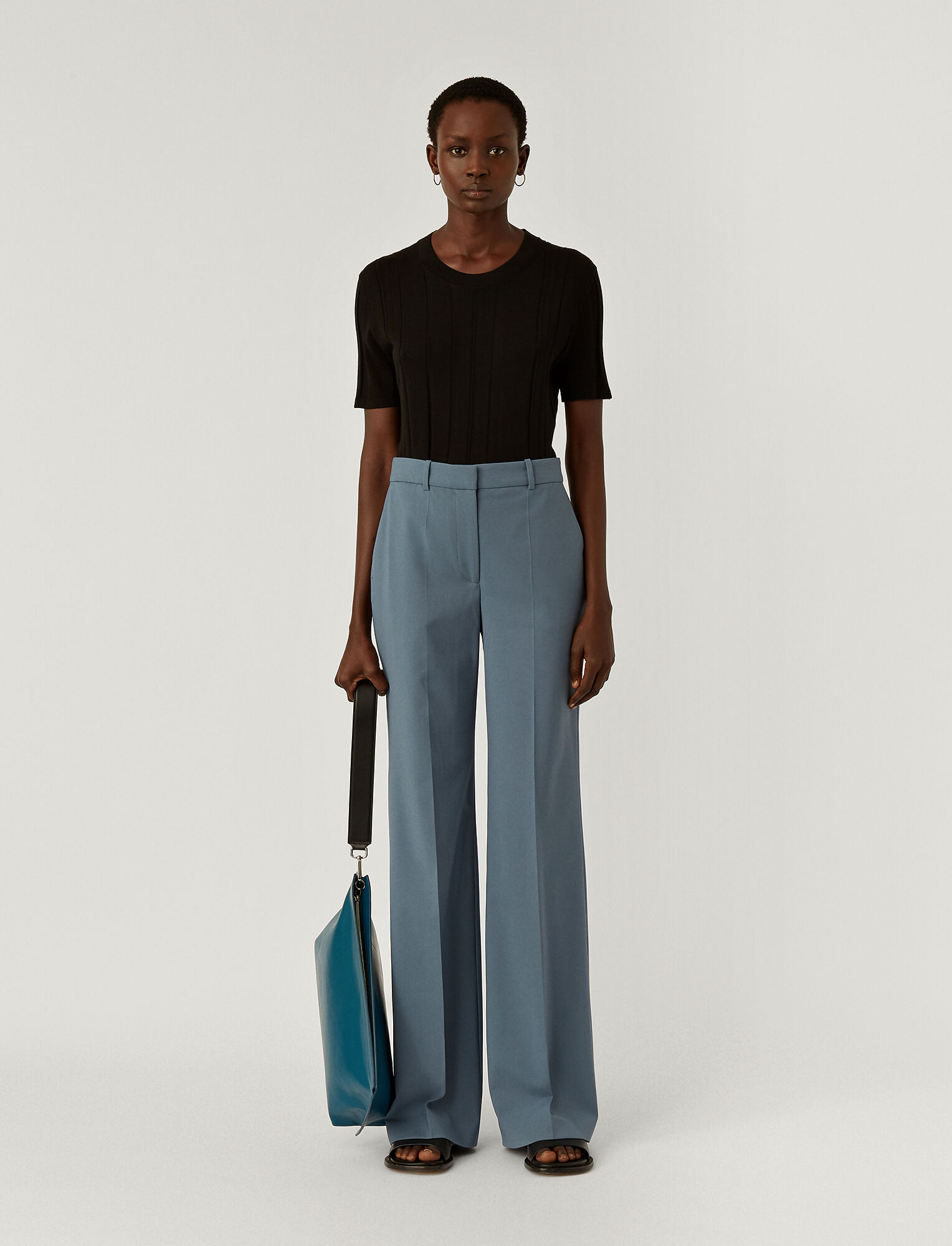 Joseph, Light Wool Suiting Morissey Trousers, in BLUE STEEL