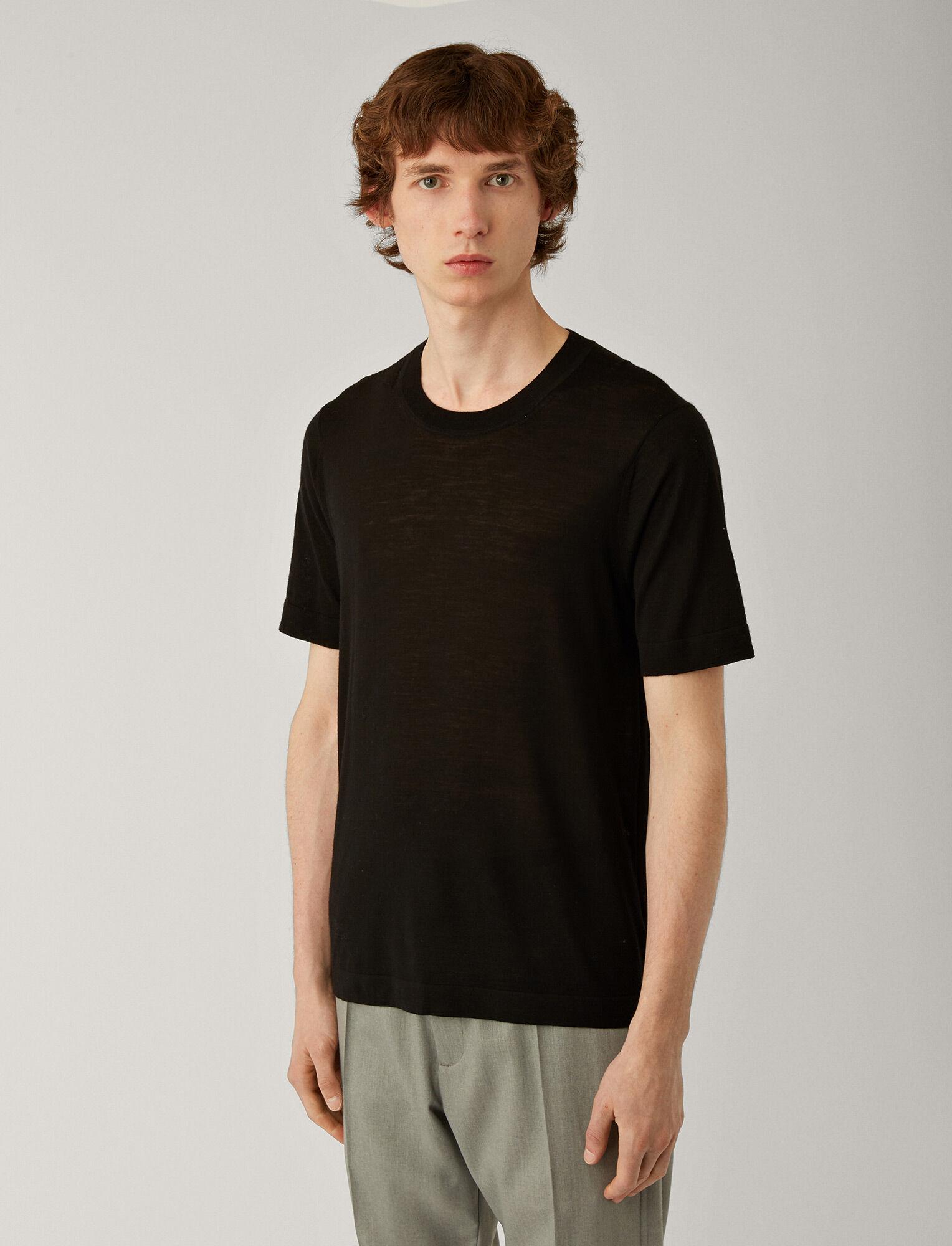 Joseph, Tee-shirt léger en laine mérinos, in BLACK