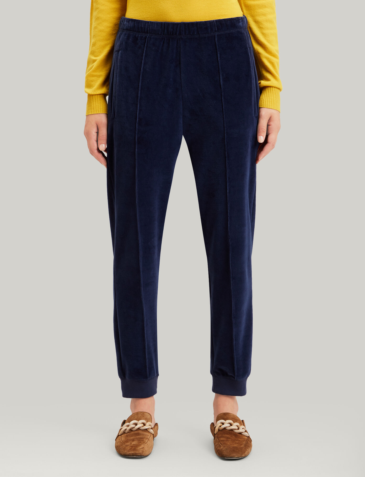 Joseph, Jog Jersey Velours Trousers, in NAVY