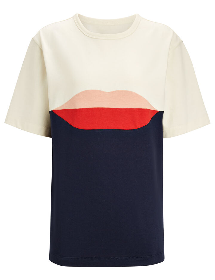 Joseph, Lips Patchwork Jersey Tee, in MULTICOLOUR
