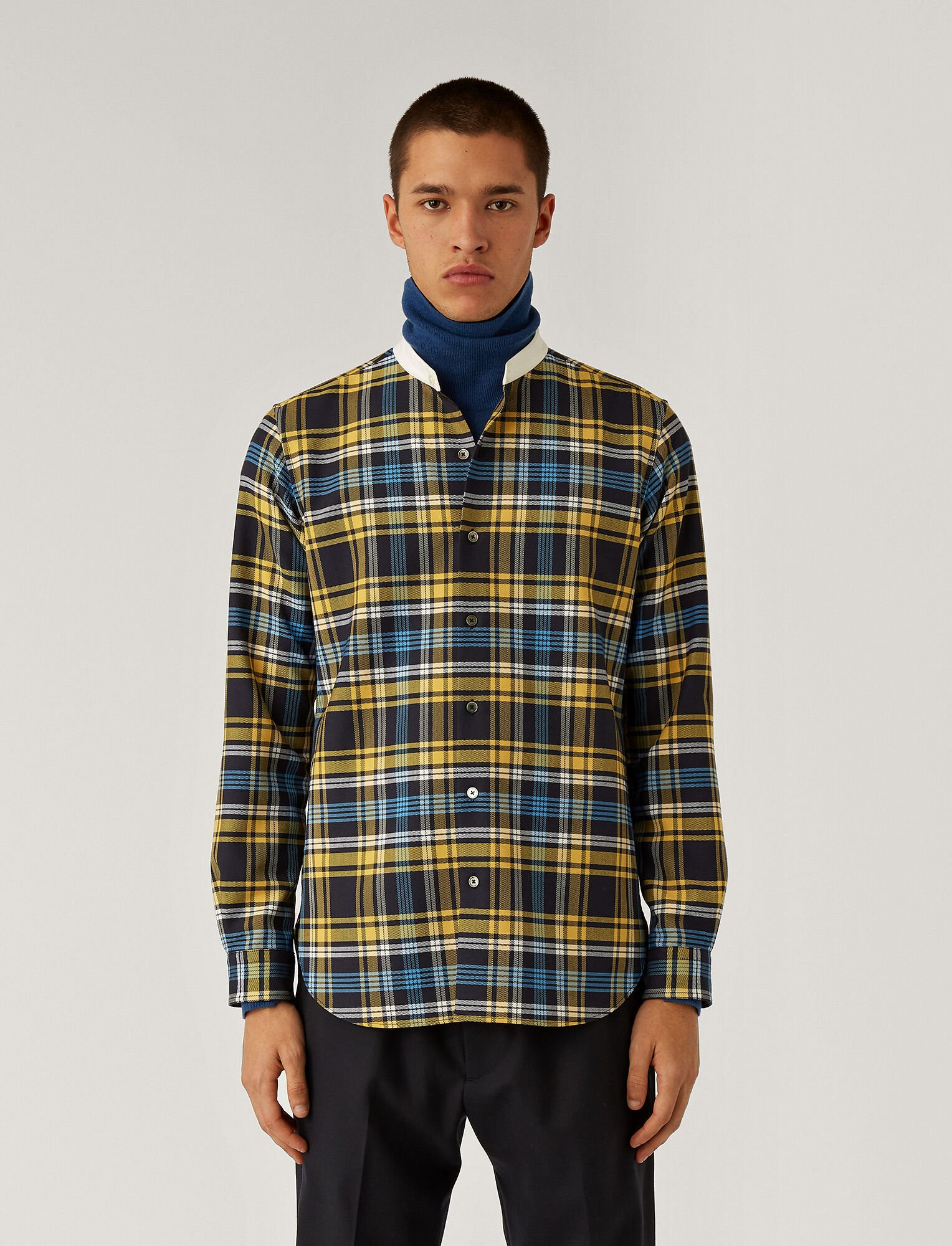 Joseph, Techno Wool Check Shirt, in Navy