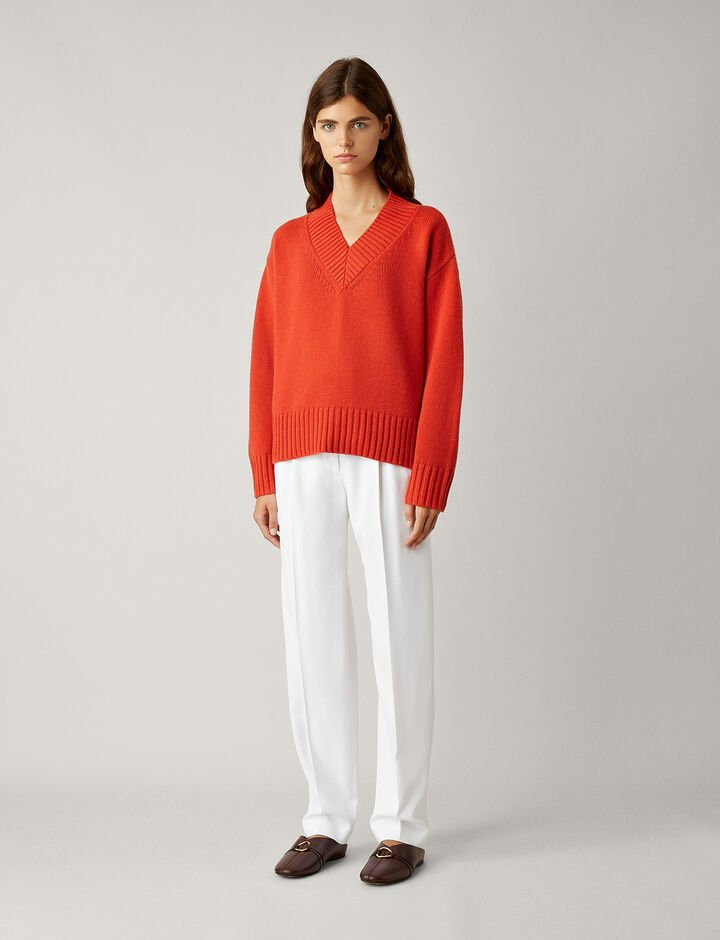 Joseph, V Neck Wool Cashmere Knit, in DARK ORANGE